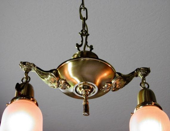 Art Deco Chandelier Antique Brass Ceiling Light Vintage Restored Rewired Art Nouveau Pan Light 2-Lite Glass Shades (possible 2)