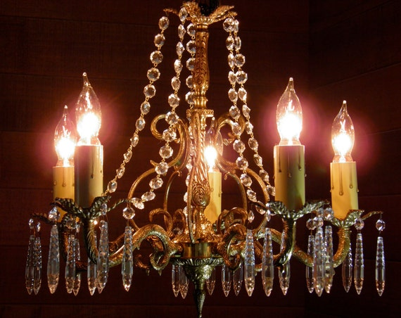 Vintage Chandelier Crystal Chandelier Brass Bronze Antique Chandelier Classic 5-Light European Design Grace & Elegance