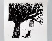 Cat In Black - Hand pulled linocut print