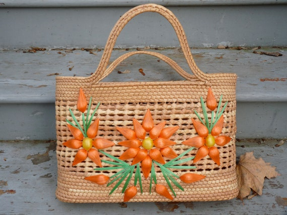 1960s Straw Tote Bag with Flowers Tropical Vacation