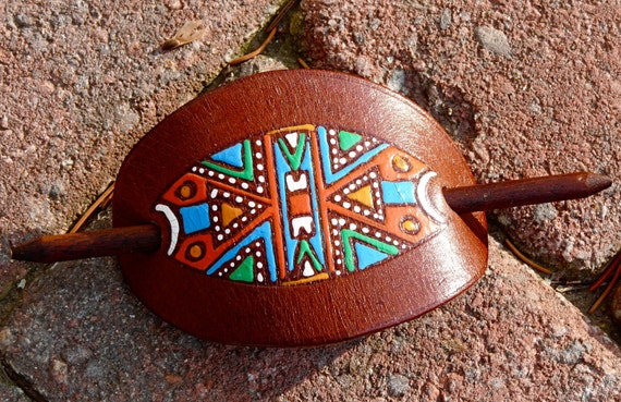 Leather Tribal Hair Clasp and Stick Barrette Native Aztec