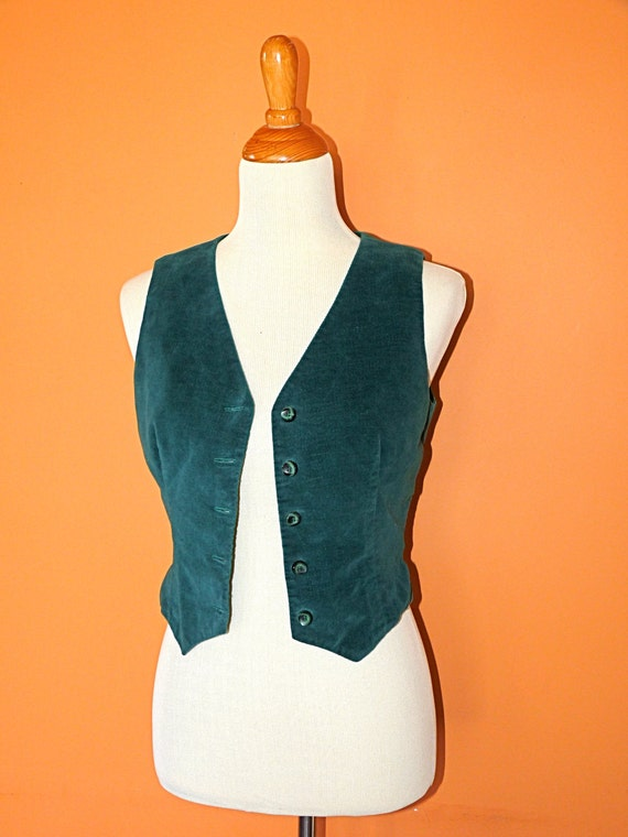 1960s Fitted Velvety Velour Gypsy Vest Size Small