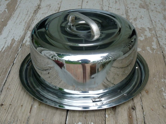 Chrome Cake Carrier 1960s Aluminum by Everedy Company