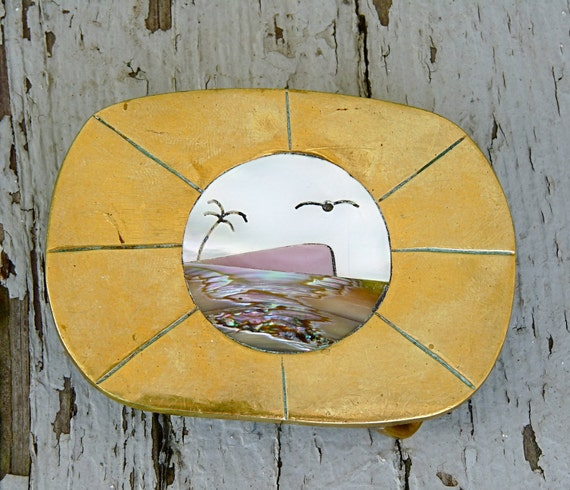 1970s brass and ABALONE belt buckle with ocean scene size small