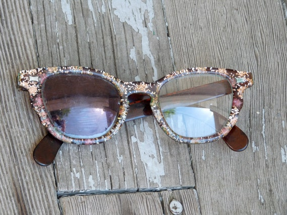 1950s geeky confetti glitter frame GLASSES in peach silver and brown