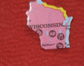 Wisconsin State Pin Puzzle Piece Recycled Upcycled Lapel Hat Pin Gift Under 5