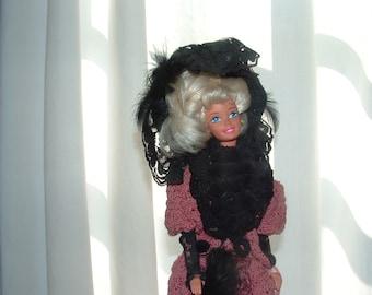 Vintage Barbie  Gown 1895 Paris Spring Fashion replica, crocheted