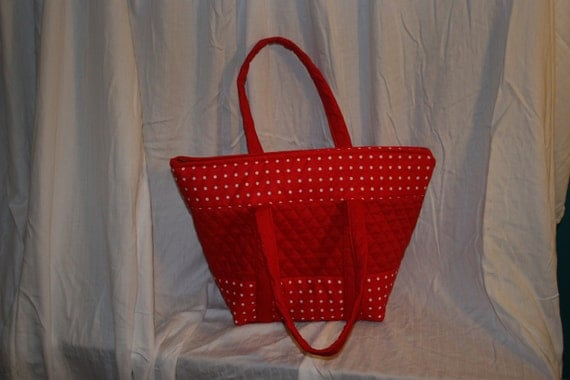 Handmade red quilted, purse, handbag, tote bag with white polka dot trim.