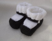 Mary Jane Booties 6 to 12 Month Size Hand Knitted in Black and White