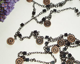 Long Copper Beaded Necklace - Dangling Copper Coin Beads and Black Cube Beads on Super Long Chain