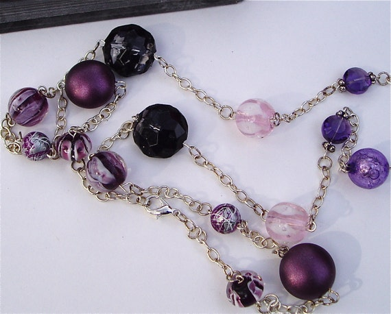 Long Purple Necklace - Fancy Purple and Pink Beaded Necklace with a Variety of Glass and Plastic Multi-Colored and Shaped Beads