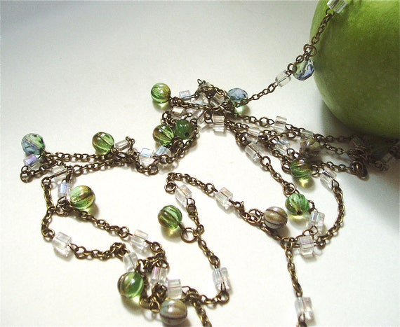 Green Drop Beaded Necklace - Apple Green Hanging Beads on Long Crystal Beaded Chain