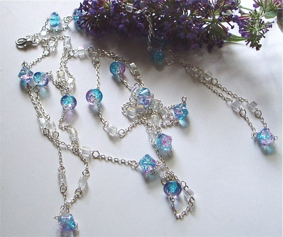 Long Blue and Purple Beaded Necklace - Large Sky Blue and Purple Beads on Very Long Silver Chain