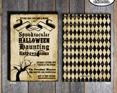 Halloween Party - Invitation & Wrap Around Address Labels - Customized Printable (Gothic - Vintage Inspired)