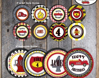 Fire Truck Birthday Party - Centerpiece Circles Signs - A La Carte - Customized Printable