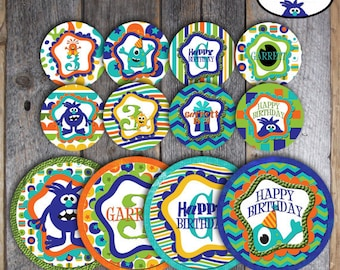 Monster Birthday Party - Complete Collection - Toppers, Bunting Banner, Party Signs, Favor Tags, Wrappers & More - Customized Printable