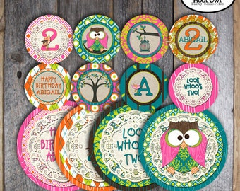 Owl Party - Night Owl Birthday Party - Complete Collection - Cupcake Toppers, Banner, Signs, Favor Tags & More - Printable (Pajama Party)