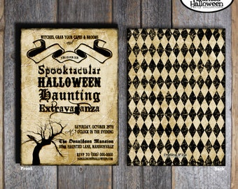 Halloween Invitation | Halloween Party Invitation | Vintage Halloween Party Invite | Address Labels | Printable (Gothic - Vintage Inspired)