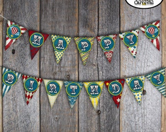 Carnival Banner | Circus Banner | Carnival Bunting Banner | Circus Bunting Banner | Carnival Circus Birthday | Red Blue Yellow | Printable