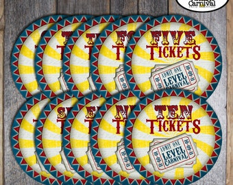 Carnival Party - Circus Party - Ticket Signs - Customized Printable (Vintage Inspired)