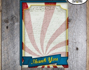 Carnival Party - Circus Party - Thank You Cards - Customized Printable (Vintage Inspired)
