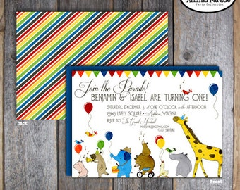 Animal Parade Invitation | Party Animal Invitation | Circus Animal Invitation | Wild Animal Invitation | Zoo Birthday Party | Printable