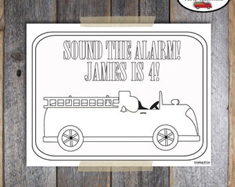 Fire Truck Birthday Party - Coloring Page - Customized Printable