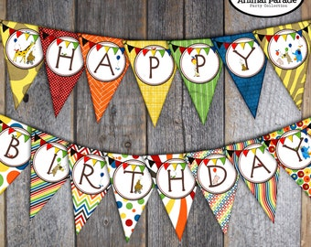 Animal Parade Banner - Party Animal Banner - Circus Animal Banner - Birthday Bunting Banner - Printable (Jungle, Safari, Zoo, Rainbow)
