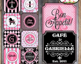 Paris Party - French Cafe Bistro - Complete Collection - Toppers, Banner, Favor Tags & More - Customized Printable (Parisian Birthday)