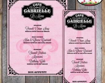 Paris Party - French Cafe - French Bistro - Customized Menu - Printable (Parisian Birthday Party)