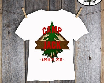 Camping Party - Campout Birthday Party - Shirt Iron On Transfer - Customized Printable (Camp, Camp Out, Outdoor Adventure, Lumberjack)