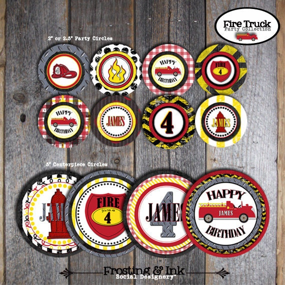 Fire Truck Birthday Party -Cupcake Toppers & Centerpiece Signs - Customized Printable