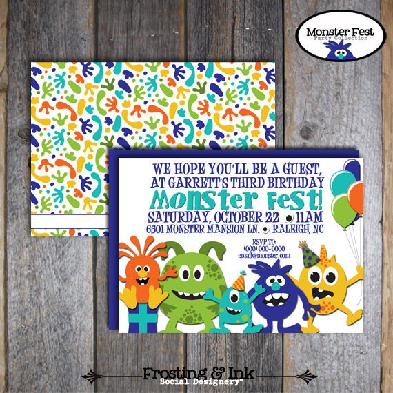 Monster Birthday Party - Invitation & Wrap Around Address Labels - Customized Printable
