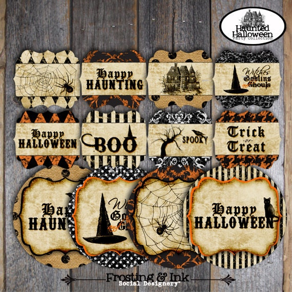 Halloween Party | Halloween Party Decorations | Haunted Halloween | Set Kit Collection | Signs Toppers Banner Party Favor Tags | Printable