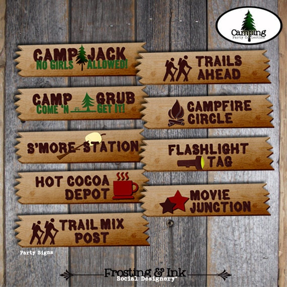 Camping Party Campout Birthday Party Party Activity Signs
