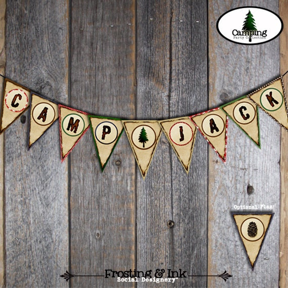 Camping Bunting Banner | Campout Banner | Camp Banner | Camp Out Banner | Campout Birthday Party Decoration | Lumberjack Banner | Printable