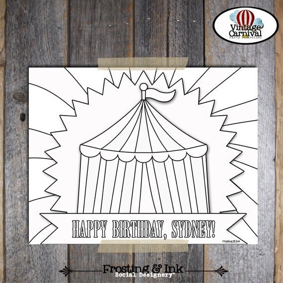 Carnival Party - Circus Party - Coloring Sheet - Customized Printable (Vintage Inspired)