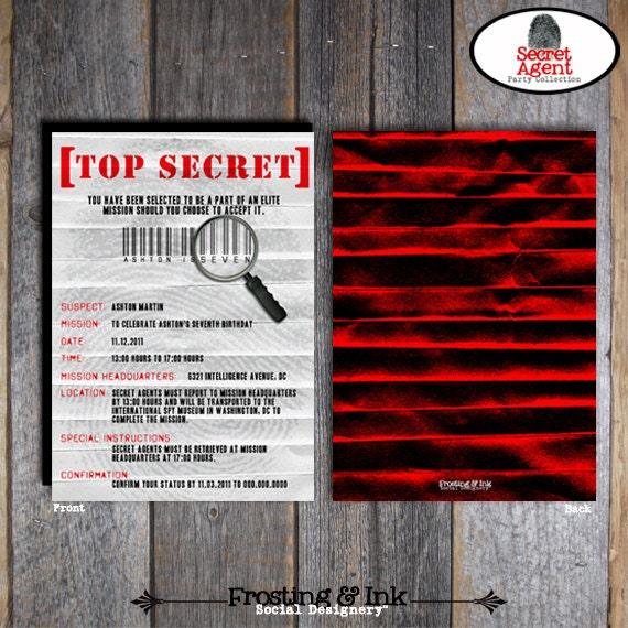 Spy Party Secret Agent Party Invitation Wrap Around – Top Secret Party Invitations