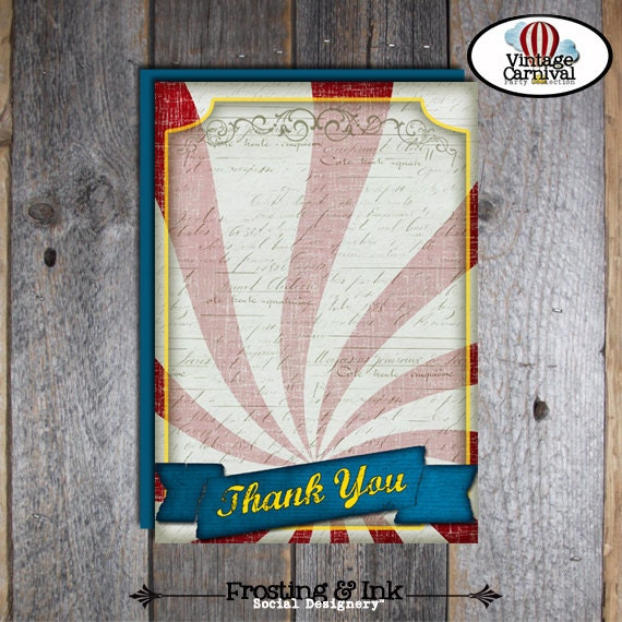 Carnival Party - Circus Party - Thank You Cards & Wrap Around Address Labels - Customized Printable (Vintage Inspired)