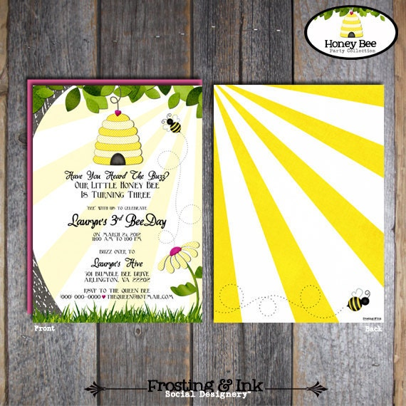 Bee Invitation - Bumble Bee Birthday Invitation - Bee Invite - Honey Bee Birthday Invite - With Wrap Around Address Labels - Printable