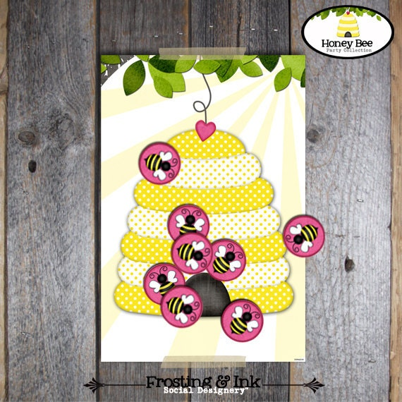 Pin The Bee on the Hive Game - Bee Party - Honey Bee Birthday Party - BeeDay Party - Printable (Bumble Bee, Queen Bee, Busy Bee, Bee Day)