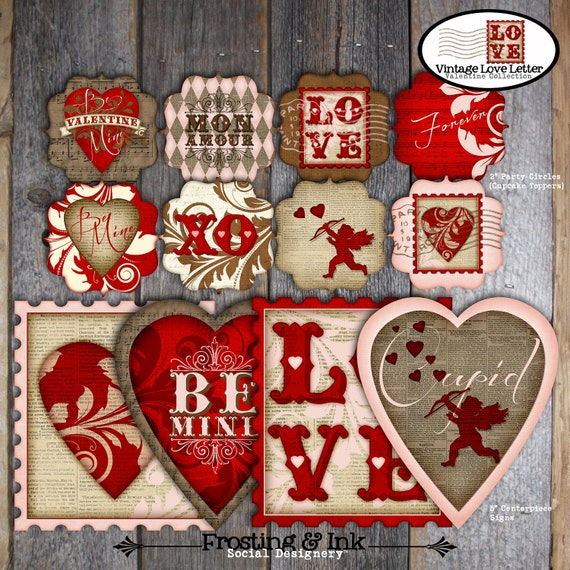 Valentine's Day Party - Complete Collection - Toppers, Bunting Banner, Favor Tags & More - Customized Printable (Vintage Inspired)