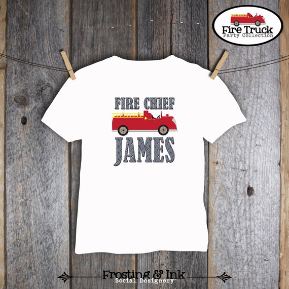 Fire Truck Birthday Party - Shirt Iron On Transfer - Customized Printable