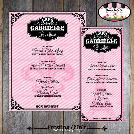 Paris Party French Cafe French Bistro Customized Menu