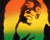 Bob Marley Laughing - Spray Paint stencil art on canvas
