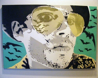 Fear And Loathing Bat Country - LARGE Johnny Depp Original Spray Paint stencil art on canvas