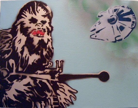 to star wars chewbacca spray paint stencil art on canvas on etsy. Black Bedroom Furniture Sets. Home Design Ideas