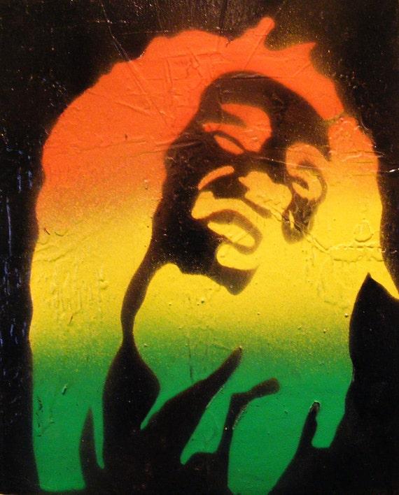 Bob Marley Laughing - Spray Paint stencil art on canvas