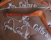 2  Personalized wedding dress hanger plus set of Mr and Mrs wine glass charms, tags