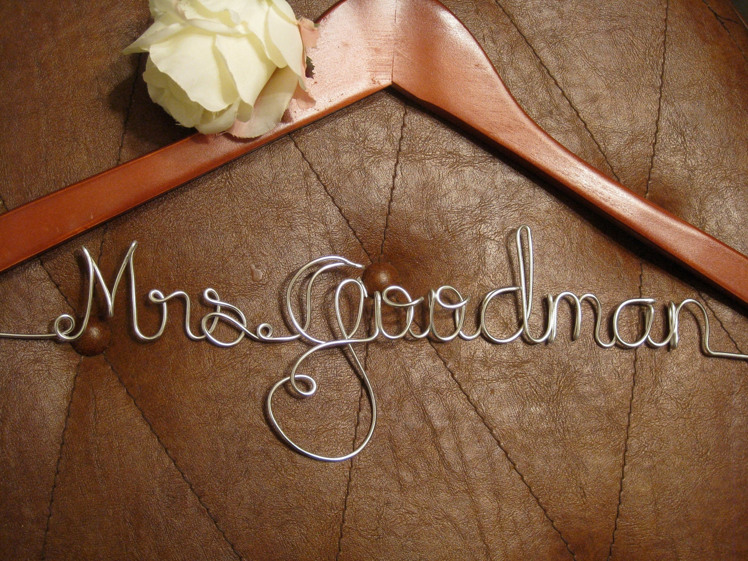 Personalized wedding hangers bridal hangers by highendhangers for Personalized wedding dress hangers
